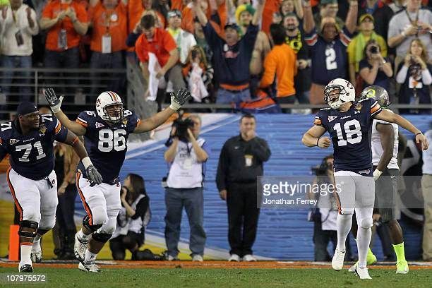 Kicker Wes Byrum of the Auburn Tigers celebrates after making a 19-yard game-winning field goal to defeat the Oregon Ducks 22-19 in the Tostitos BCS...