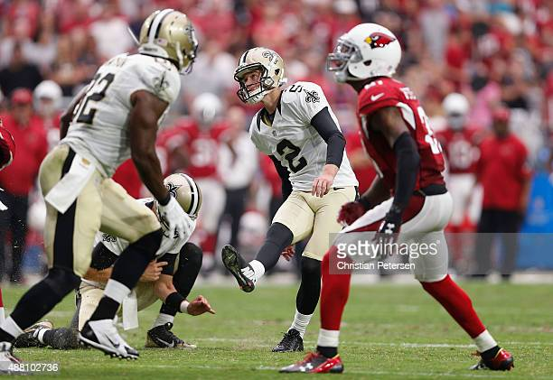 Kicker Zach Hocker of the New Orleans Saints kicks a 23yard field goal during the third quarter of the NFL game at the University of Phoenix Stadium...