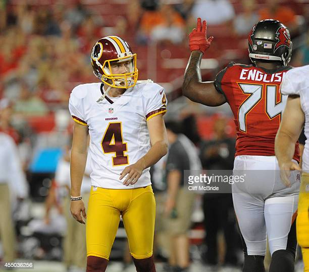 Kicker Zach Hocker of the Washington Redskins against the Tampa Bay Buccaneers at Raymond James Stadium on August 28 2014 in Tampa Florida
