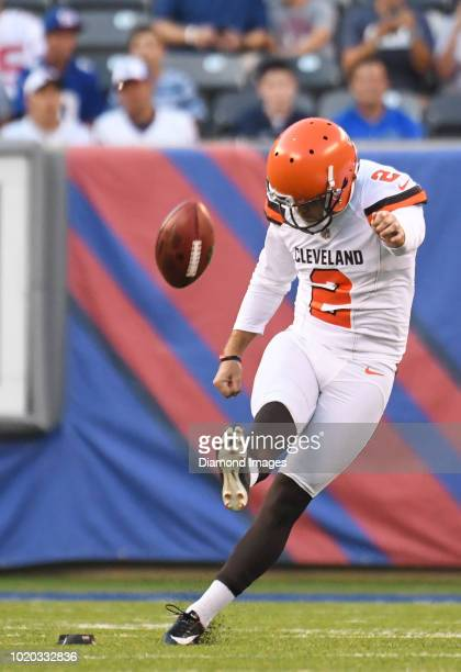 Kicker Zane Gonzalez of the Cleveland Browns kicks off in the first quarter of a preseason game against the New York Giants at MetLife Stadium in...