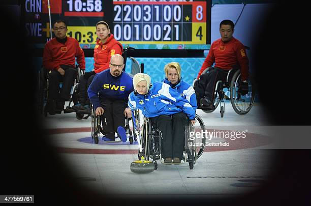 Kicki Ulander of Sweden in action during the wheelchair curling round robin session 5 match between Sweden and China at the Ice Cube Curling Center...