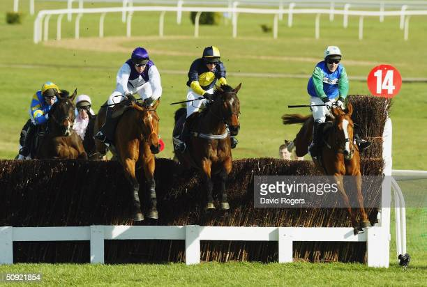 Kicking King Mister McGoldrick and Well Chief pictured during the Irish Independent Arkle Challenge Trophy Steeple chase held on the first day of the...
