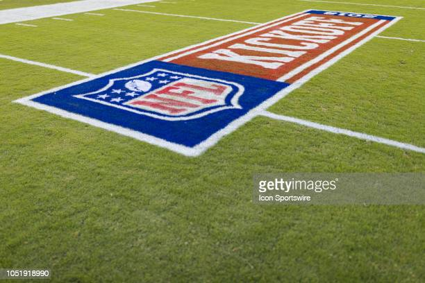 Kickoff 2018 logo painted on the field before an NFL regular season football game against the Philadelphia Eagles on September 6 at Lincoln Financial...