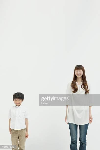 Kid and smiling woman of 30th generation