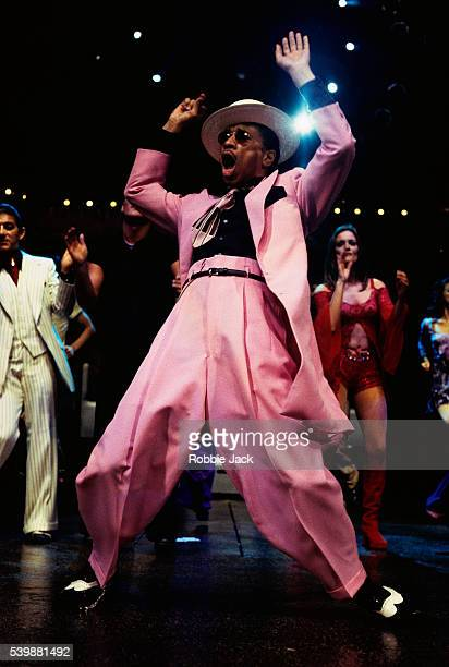 Kid Creole performs as Brutus T Firefly in the musical Oh What a Night at London's Apollo Theatre
