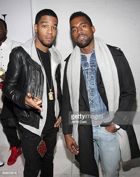Kid Cudi and Kanye West attend the Michael Bastian presentation during MercedesBenz Fashion Week Fall 2009 at 637 West 27th Street on February 16...