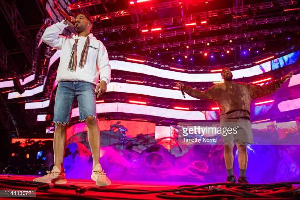 Kid Cudi and Kanye West perform during 2019 Coachella Valley Music And Arts Festival on April 20 2019 in Indio California