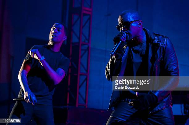 Kid Cudi and Kanye West perform during VEVO Presents GOOD Music at VEVO Power Station on March 19 2011 in Austin Texas