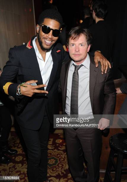 Kid Cudi and Michael J Fox attend the 2011 A Funny Thing Happened On The Way To Cure Parkinson's event at The Waldorf=Astoria on November 12 2011 in...