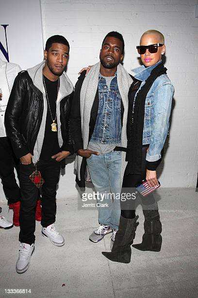 Kid Cudi Kanye West and Amber Rose attend the Michael Bastian presentation during MercedesBenz Fashion Week Fall 2009 at 637 West 27th Street on...