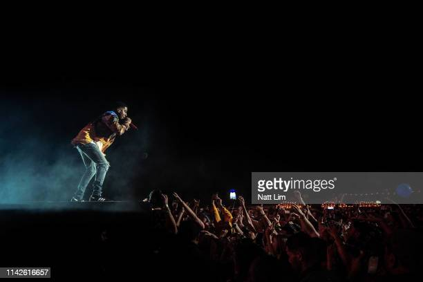 Kid Cudi performs at Sahara Tent during the 2019 Coachella Valley Music And Arts Festival on April 13 2019 in Indio California