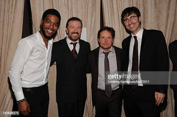 Kid Cudi Ricky Gervais Michael J Fox and John Oliver attend the 2011 A Funny Thing Happened On The Way To Cure Parkinson's event at The...