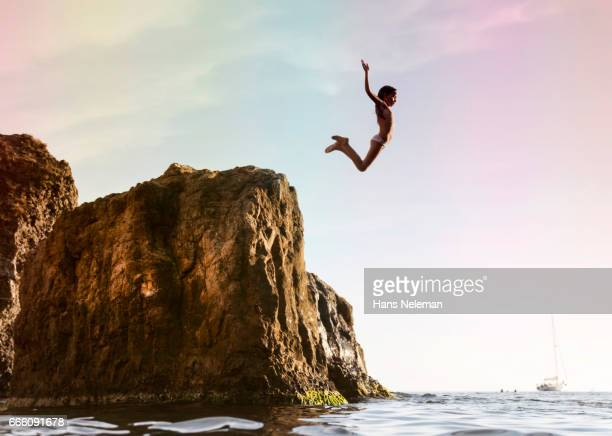 Kid diving off the cliff