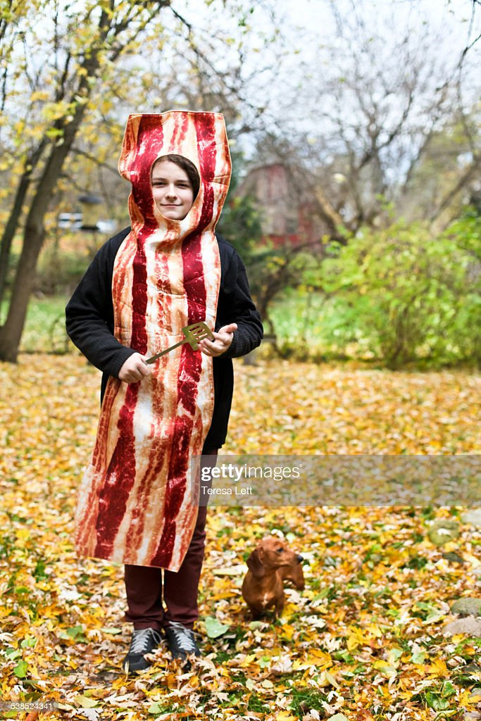 Kid in bacon costume  Stock Photo  sc 1 st  Getty Images & Kid In Bacon Costume Stock Photo | Getty Images