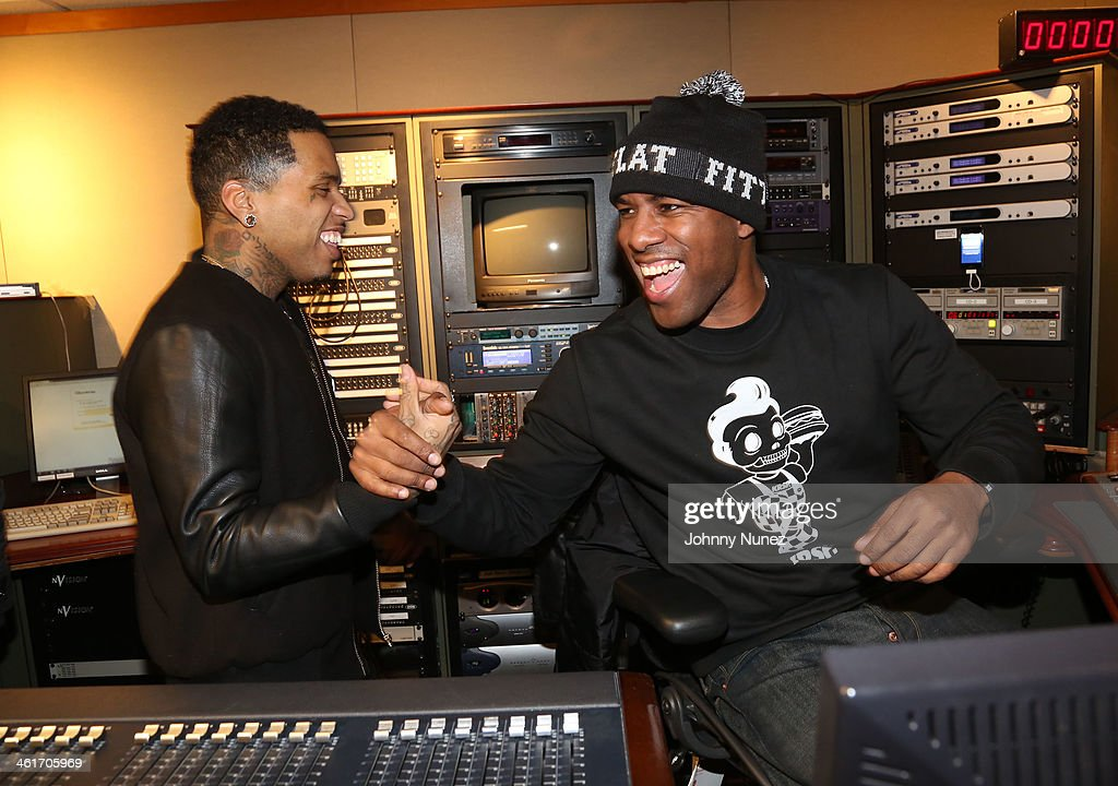 Kid Ink and DJ Whoo Kid invade 'The Whoolywood Shuffle' at SiriusXM Studios on January 9, 2014 in New York City.