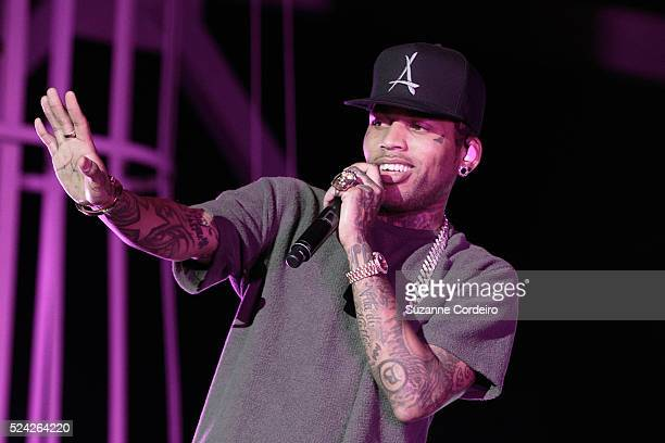 Kid Ink performs during the Chris Brown 'One Hell of a Night Tour' at the Austin360 Amphitheater on September 9 2015 in Austin Texas