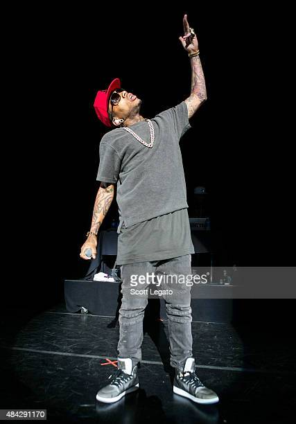 Kid Ink performs during the One Hell of a Night Tour at DTE Energy Center on August 16 2015 in Clarkston Michigan