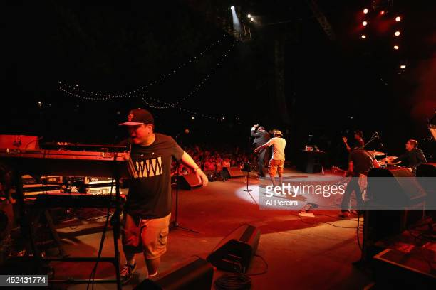 Kid Koala Dan The Automator and rapper Del the Funky Homosapien of the HipHop supergroup Deltron 3030 perform during 2014 Celebrate Brooklyn at the...
