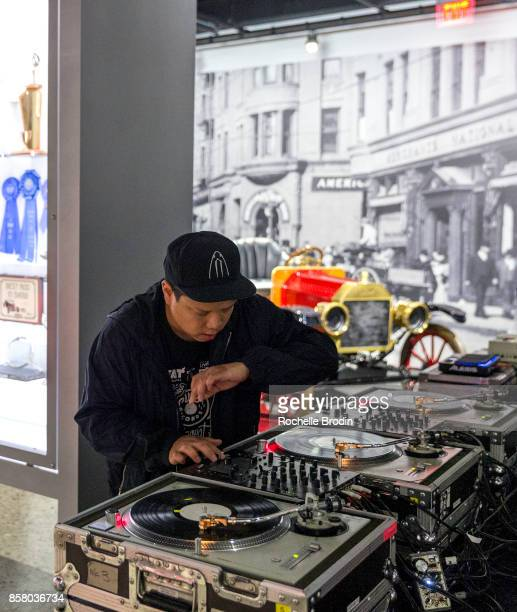Kid Koala performs at the 'Cars Arts Beats A Night Out With 'Baby Driver'' event at the Petersen Automotive Museum on October 4 2017 in Los Angeles...