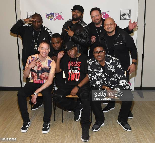 Kid 'n Play Rob Base and All4One pose backstage at the Tailgate Party during IEBA 2017 Conference on October 15 2017 in Nashville Tennessee