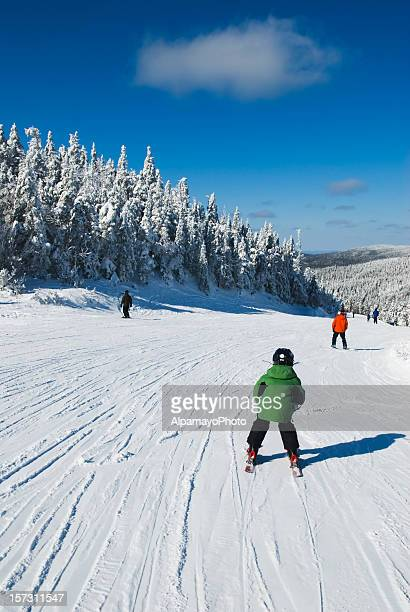 kid on the skis - mont tremblant stock pictures, royalty-free photos & images