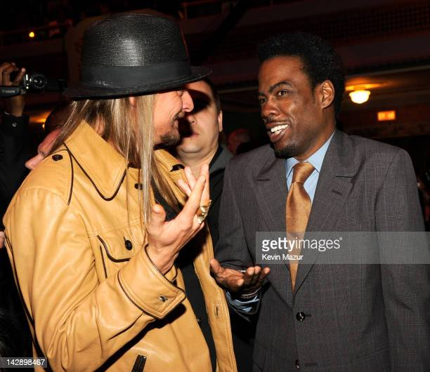Kid Rock and Chris Rock attend the 27th Annual Rock And Roll Hall Of Fame Induction Ceremony at Public Hall on April 14, 2012 in Cleveland, Ohio.