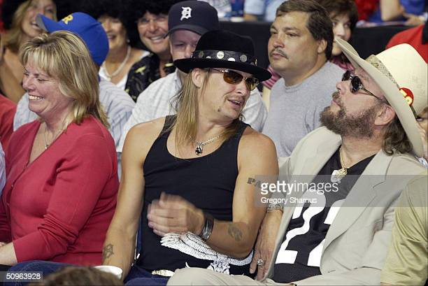Kid Rock and Hank Williams Jr. Attend Game five of the 2004 NBA Finals on June 15, 2004 at the Palace of Auburn Hills in Aubrn Hills, Michigan. NOTE...