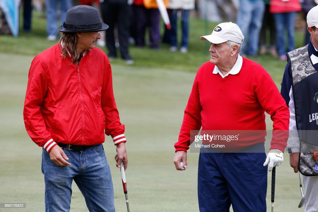 Kid Rock and Jack Nicklaus chat during the Bass Pro Shops Legends of Golf Celebrity Shootout at Big Cedar Lodge held at Top of the Rock on April 22, 2018 in Ridgedale, Missouri.