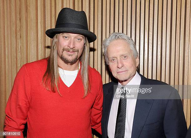 Kid Rock and Michael Douglas attend the opening of the Mica and Ahmet Ertegun Atrium at Jazz at Lincoln Center on December 17 2015 in New York City