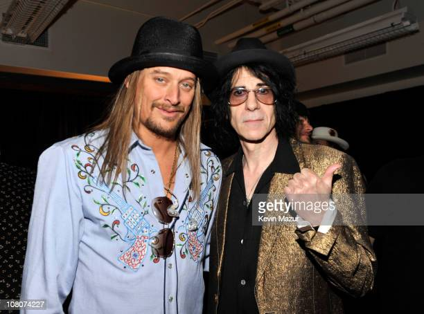 Kid Rock and Peter Wolf backstage at Ford Field on January 15, 2011 in Detroit, Michigan.