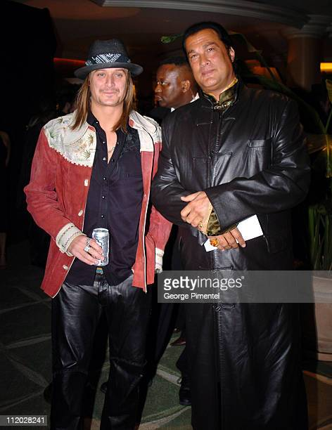 Kid Rock and Steven Seagal during Clive Davis' 2005 PreGRAMMY Awards Party Cocktail Reception at Beverly Hills Hotel in Beverly Hills California...