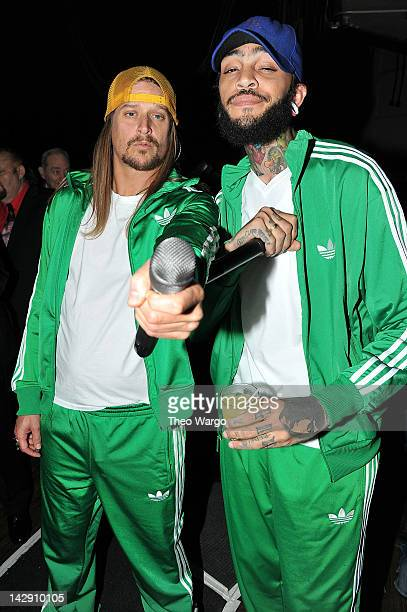 Kid Rock and Travie McCoy attend the 27th Annual Rock And Roll Hall Of Fame Induction Ceremony at Public Hall on April 14, 2012 in Cleveland, Ohio.