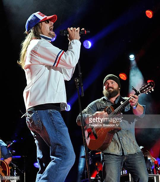 Kid Rock and Zac Brown perform with the Zac Brown Band at LP Field during the 2013 CMA Music Festival on June 6 2013 in Nashville Tennessee