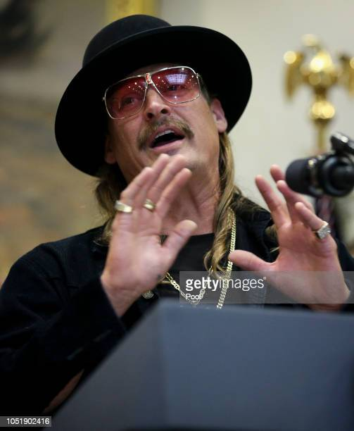 Kid Rock attends a signing ceremony as US President Donald Trump signs the HR 1551 the 'Orrin G HatchBob Goodlatte Music Modernization Act' in the...