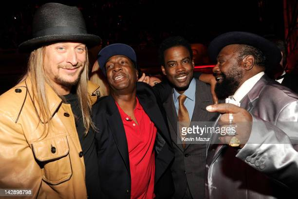 Kid Rock, Chris Rock and George Clinton attend the 27th Annual Rock And Roll Hall Of Fame Induction Ceremony at Public Hall on April 14, 2012 in...