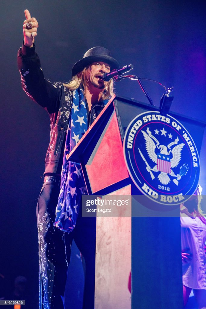 Kid Rock get political as he performs the very first show at the new Little Caesars Arena on September 12, 2017 in Detroit, Michigan.