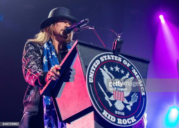 Kid Rock get political as he performs the very first show at the new Little Caesars Arena on September 12 2017 in Detroit Michigan