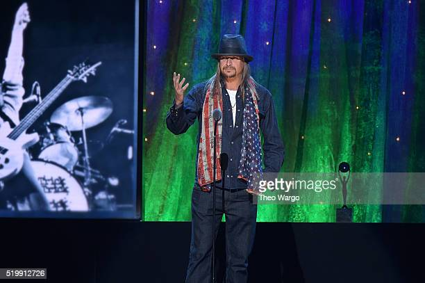 Kid Rock inducts Cheap Trick at the 31st Annual Rock And Roll Hall Of Fame Induction Ceremony at Barclays Center on April 8 2016 in New York City