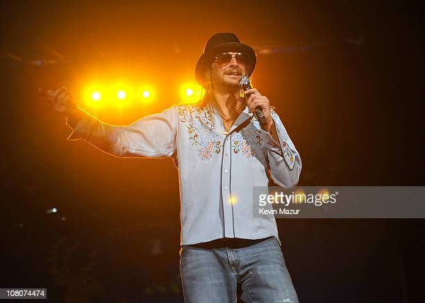 """Kid Rock performs during his """"Born Free"""" tour opener at Ford Field on January 15, 2011 in Detroit, Michigan."""