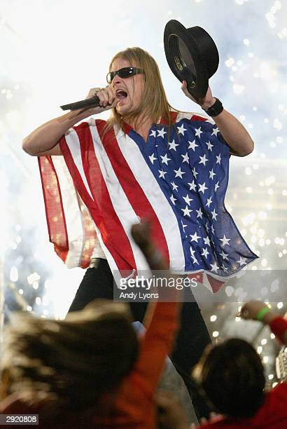 Kid Rock performs during the halftime show at Super Bowl XXXVIII between the New England Patriots and the Carolina Panthers at Reliant Stadium on...
