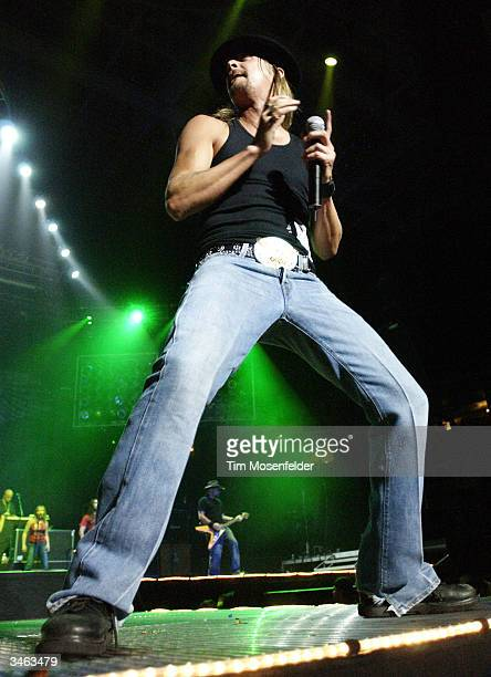 Kid Rock performs during the Rockin' Roll Pain Train World Tour at the HP Pavilion on April 23 2004 in San Jose California