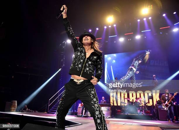 Kid Rock performs on stage during his American Rock N Roll 2018 tour at Prudential Center Practice Facility on March 9 2018 in Newark New Jersey