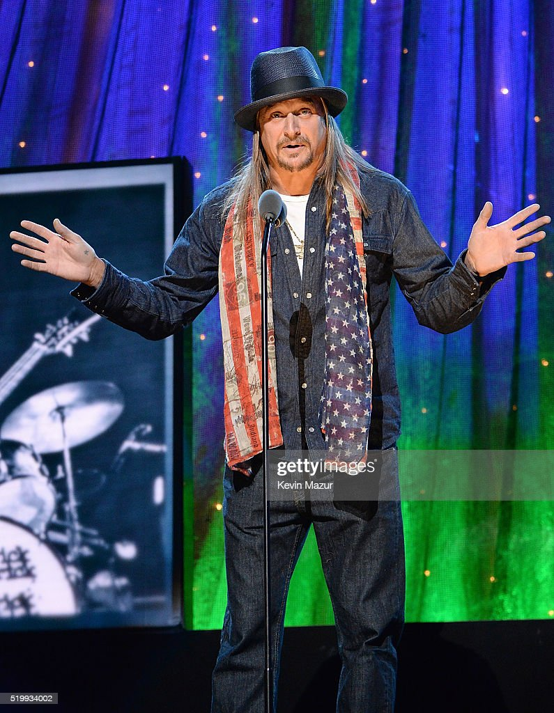 Kid Rock speaks onstage during 31st Annual Rock And Roll Hall Of Fame Induction Ceremony at Barclays Center of Brooklyn on April 8, 2016 in New York City.