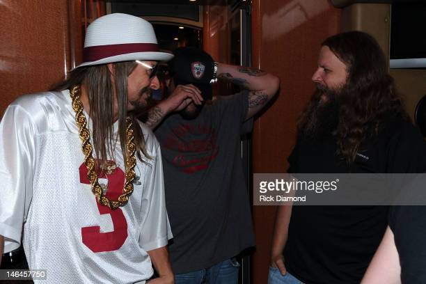 Kid Rock Uncle Kracker and Jamey Johnson backstage at the 2012 BamaJam Music and Arts Festival Day 3 at BamaJam Farms in Enterprise Alabama on June...