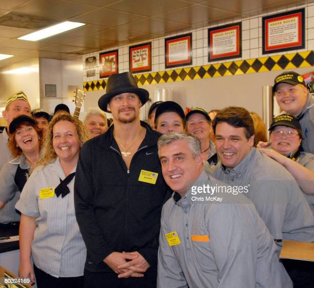 Kid Rock Works for a Day at Buford Highway Waffle House in Duluth Georgia to Benefit Nicholas House on March 11 2008 Here he poses with the cooks...