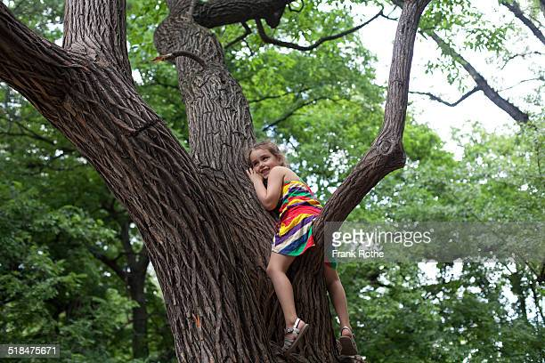 kid sits on a tree branch and listen to the tree