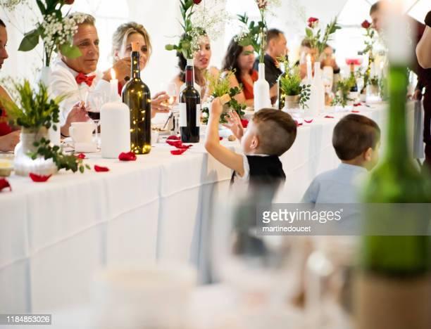 """niño robando pan en la mesa de honor en la recepción de la boda. - """"martine doucet"""" or martinedoucet fotografías e imágenes de stock"""