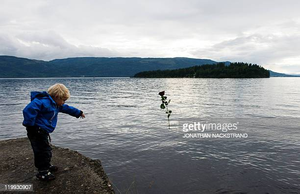 A kid throws a rose on July 26 2011 in the lake Tyrifjorden in Sundvolden facing the Utoeya island in honor of the victims of the July 22 shooting...