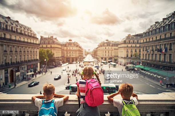 Kid tourist visiting paris