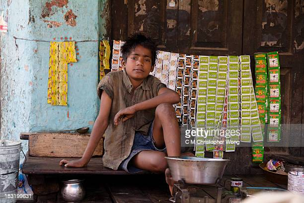 Kid was selling little sachets of Tobacco on the street of Fatehpur, near Agra